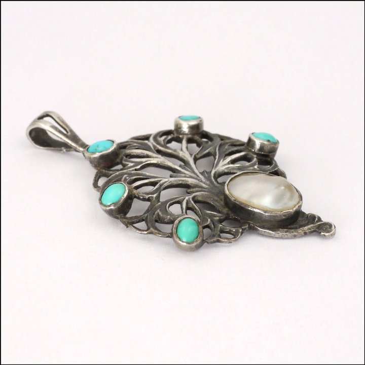 f69b5b72f English Arts and Crafts Sterling Turquoise and Pearl Pendant - William Hair  Haseler for Liberty
