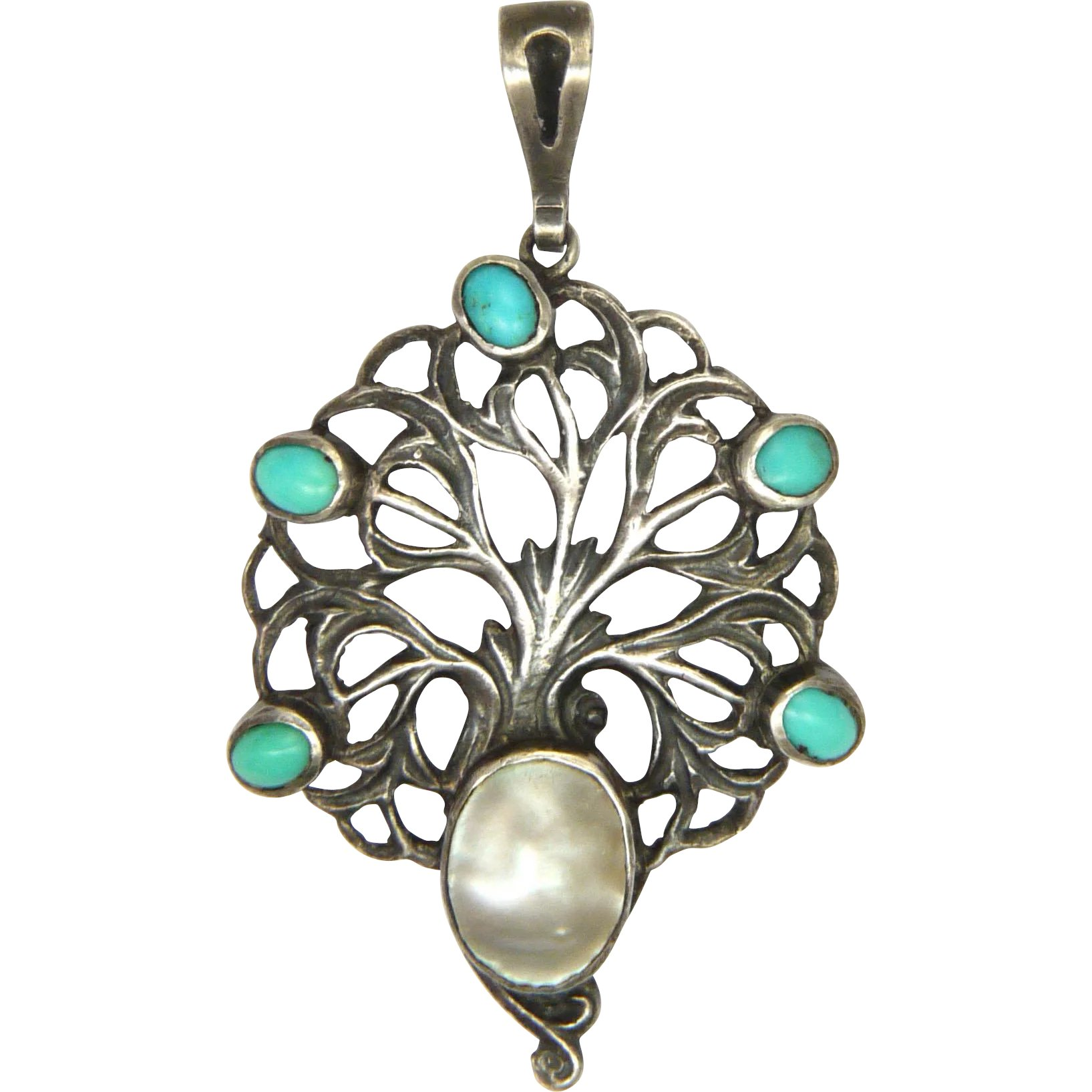 5b2c0adc1 English Arts and Crafts Sterling Turquoise and Pearl Pendant - William :  Suzy Lemay   Ruby Lane
