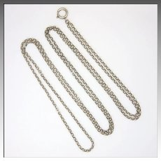 "French Circa 1900 Silver Engraved Link Guard Chain - 54"" -19.1 grams"