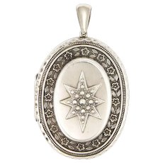 English Victorian 1882 Large Sterling Silver Locket - Adie & Lovekin