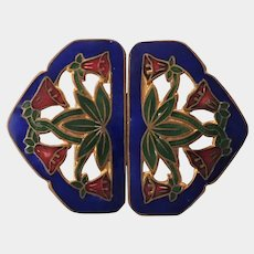 Edwardian Art Nouveau Enamel on Gilt Brass Buckle