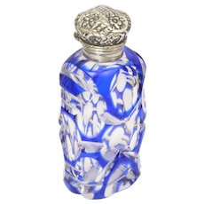 Victorian Bohemian Glass Silver Topped Perfume Bottle
