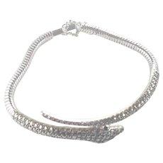 Art Deco Rhodium Plated Marcasites Snake Bracelet