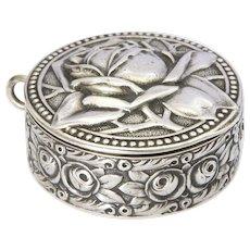 Art Nouveau Jugendstil 800 Silver Rose Box - LEVINGER & BISSINGER - Germany