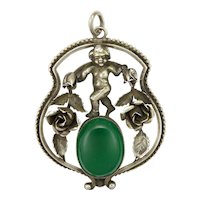 Antique German Silver Cherub and Roses with Chrysoprase Agate Pendant