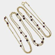 """Victorian 9K Gold and Garnet Beads Guard Chain - 54"""" - 18.3 grams"""