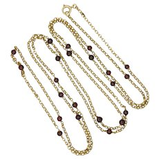 "Victorian 9K Gold and Garnet Beads Guard Chain - 54"" - 18.3 grams"