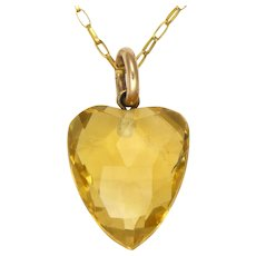 Citrine Heart Pendant with 9K Gold Chain Necklace