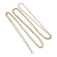 "Victorian 9K Gold Guard Chain - 46"" - 18.7 grams"