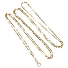 "Victorian 9K Gold Guard Chain - 46"" - 18.7 grams"