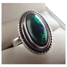 Arts and Crafts Sterling Silver Foiled Peacock's Eye  Ring