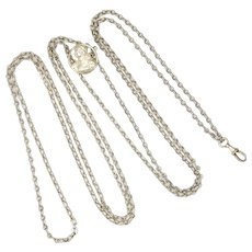 """French Antique Silver Guard Chain with Joan of Arc Clip - 56"""" - 19.9 grams"""