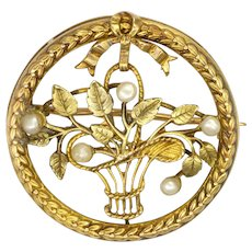 French Antique Gold Filled 'FIX' Seed Pearls Basket Pin