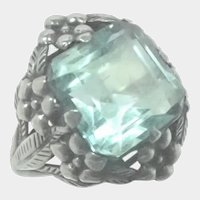 Arts and Crafts Silver and Aquamarine Paste Ring - Attrib. Bernard Instone