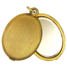 French Antique Gold Plated Mirror Slide Pendant