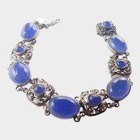 English 1974 Sterling Silver and Blue Chalcedony Bracelet - SBros