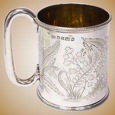 Victorian English Sterling Silver 1871 Christening Mug or Tankard