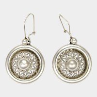 Victorian Silver Domed Fretwork Earrings - Pierced Ears
