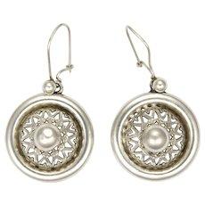 Victorian Silver Domed Fretwork Earrings - Pierced Ears