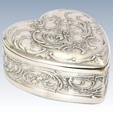 Antique German 800 Silver Heart Shaped Trinket Box  - MARTIN MAYER