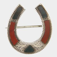 Victorian Scottish Agate Sterling Silver  Lucky Horseshoe Pin