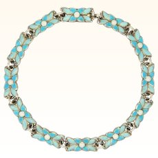 BERNARD INSTONE - Sterling Silver and Enamel Flowers Bracelet