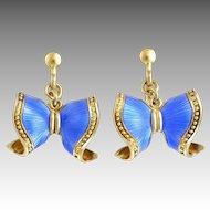 Norwegian Sterling Silver Gilt Enamel Bow Earrings - Screw Backs