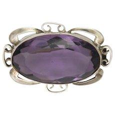 Art Nouveau Sterling Silver Violet Paste Pin
