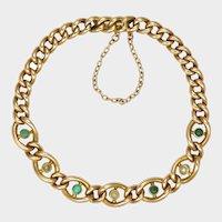 English Edwardian 15K Gold Seed Pearl and Turquoise Bracelet