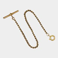 Victorian 9k Gold Watch Chain with French Gold Filled Ring Clasp