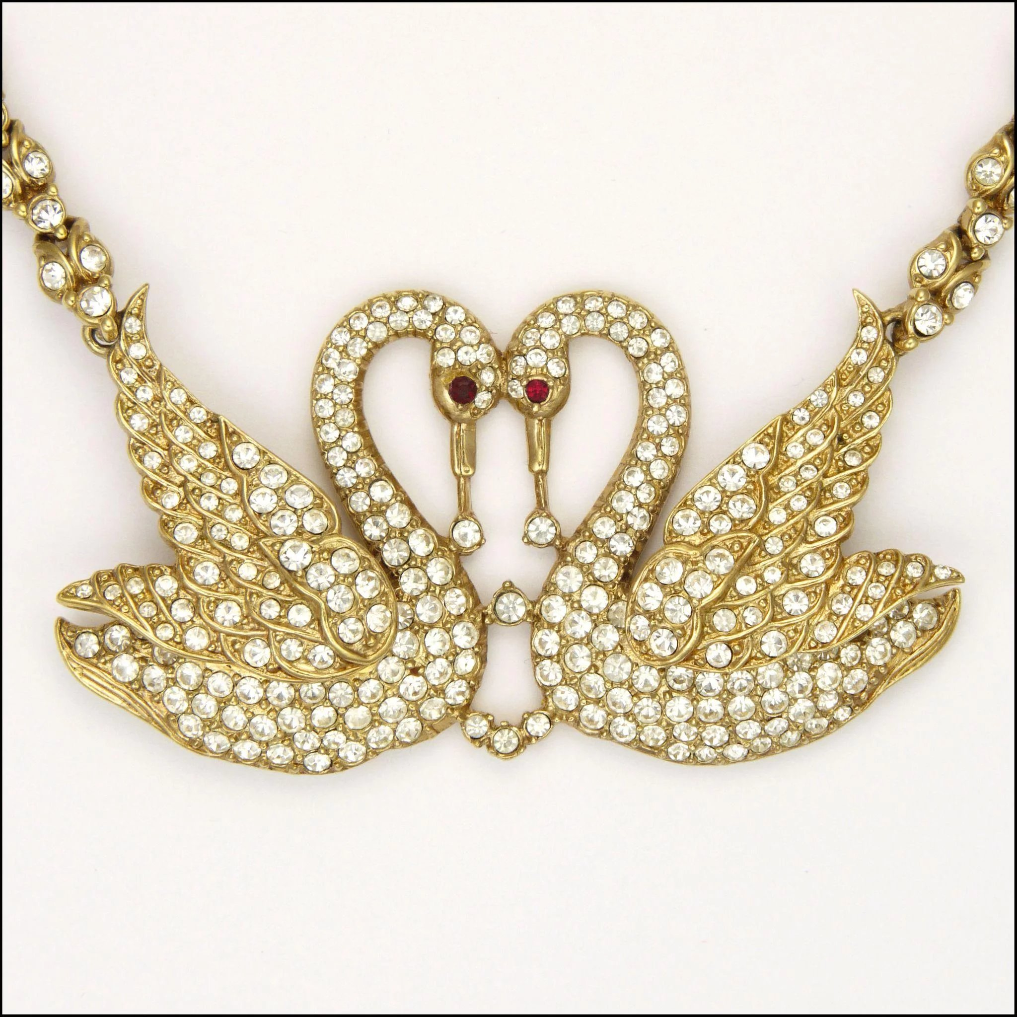 Attwood Sawyer Sparkling Rhinestone Swan Necklace Click To Expand