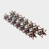 French Antique Gold Overlaid Silver Enamel and Ruby Pin - BRESSANS