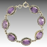 Arts and Crafts Silver Amethysts Hand Crafted Bracelet