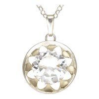 Silver '835' Rock Crystal Quartz Pendant with Sterling Chain