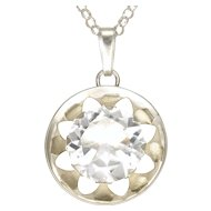 German '835' Silver Rock Crystal Quartz Pendant with Sterling Chain