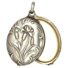French Art Nouveau Silver Carnations Double Mirror Slide Pendant