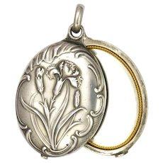 French Art Nouveau Silver Carnations Double Mirror Slide Pendant