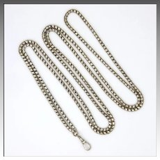 "Victorian Sterling Silver Fluid Guard Chain- 44"" - 24.6 grams"
