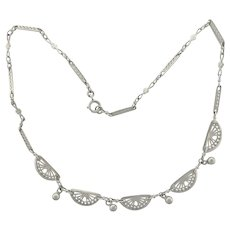 French Antique Silver Necklace - 28½""