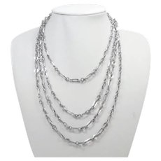"French Antique Silver Guard Chain - 55"" - 20.3 grams"