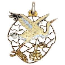 French Circa 1920 Silver Enamel Stork Christening Pendant