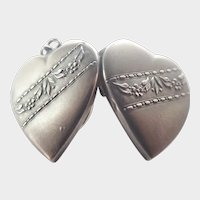 French 19C Silver Heart Locket Pendant