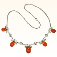 English Arts and Crafts Silver and Carnelian Agate Necklace - BERNARD INSTONE