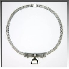 Art Deco German Chrome and Galalith Mesh Bow Necklace