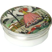 Art Deco Lady In Garden Metal Lid with Opaline Glass Pot