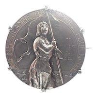 French Joan of Arc  Circa 1909 Silver Pin - Vermare - RARE!