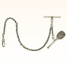 Late Victorian Sterling Silver Watch Chain with Tennis Racquet