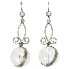 Victorian Silver 'Pools of Light' Rock Crystal Drop Earrings