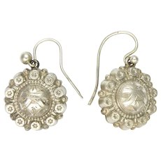 Victorian 800-900 Silver Engraved Earrings - Hooks for Pierced Ears