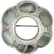 Victorian Scottish Silver and Montrose Blue Lace Agate Large Brooch/Pin